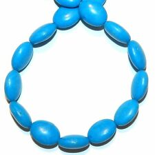 NG2730 Dark Blue Turquoise 14x10mm Flat Puffed Oval Magnesite Gemstone Beads 15""