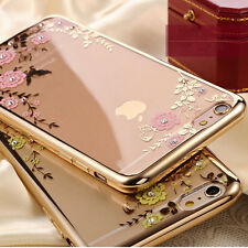 Luxury Slim Clear Crystal Flower Gel Bling back Soft Electroplate TPU Case Cover