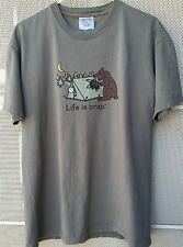 Life Is Crap Bear and Tent T Shirt Beige Size L Large