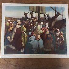 C1950 Vintage Enid Blyton Bible Picture Poster Jairus waiting by the Water