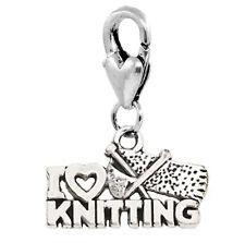 I Love Knitting Heart Word Knitter Gift Lobster Clip Dangle Charm for Bracelets