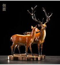 20'' top brass copper fine workmanship home decor animal two  sika deer statue