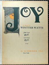Vintage Joy Sheet Music Winter Watts 9 pages G. Schirmer 1922 American Art Song