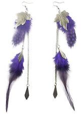 F1885 purple light long floss Feather bronze leaf chain dangle cute earrings New