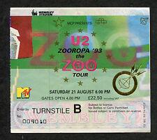 Original U2 Zooropa 1993 Tour Concert Ticket Stub Wembley Stadium London Uk Bono