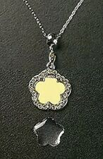 Photo Necklace Crystal Flower Dangle Charm Pendant Silver Plated Adjustable