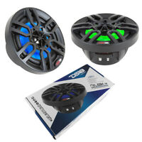 "6.5"" Black Marine Power Sport RGB LED Speakers 600 Watt IP65 DS18 Hydro NXL6BK"