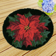 """19.6"""" Red Flower Latch Hook Kit Rug DIY Embroidery Cushion Craft Home Decor"""