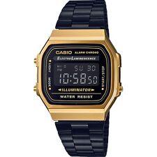 """CASIO A168WEGB-1BEF """"GOLD-BLACK. NEW MODEL. WR. 50 M. CHRONO-ALARM"""" RETRO."""
