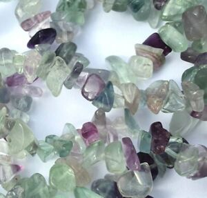 Rainbow Fluorite Gemstone Chip Beads for Jewellery Making Size 4-12mm 90cm RSPCA