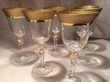 Bohemia crystal Wine glasses 220ml 6pc 17cm decorated gold