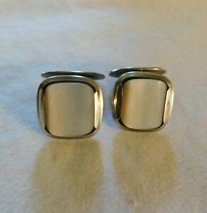 Vintage Sterling Silver Mother of Pearl Cufflinks Signed S&F Sterling