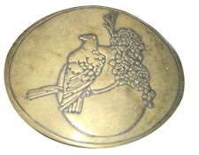 Vtg Eagle Belt Buckle Solid Brass Sunset Moon Grape Branch Bird Stars Nautical