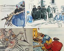 carte postale bretonne illustrateur art peinture Meheut pêche Bretagne Lot de 4