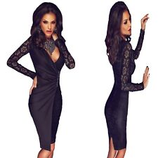 Sz 10 12 Black Lace Long Sleeve Formal Prom Cocktail Party Wrap Slim Midi Dress