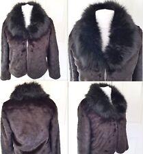 Women's Black Faux Rabbit Fur Coat Outwear Jacket Overcoat Warm Parka XXL 14-16