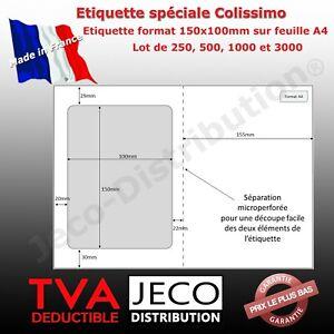 planches A4 avec étiquette colissimo intégrée 150x100mm compatible avery L7980