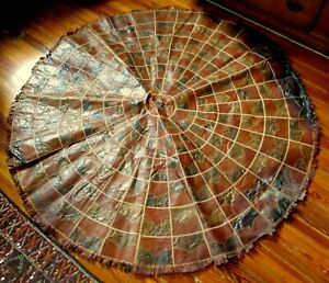 RARE 50s Handmade Patchwork Leather/Snakeskin Moroccan Round Rug/Wall Display