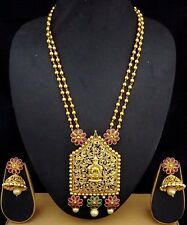 1gm Gold Plated Ruby Emerald CZ Temple Jewelry Necklace Jhumki Earrings 3pc Set