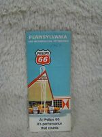 Vintage Phillips 66 1969 Pennsylvania and Metropolitan Pittsburgh Map, Collect
