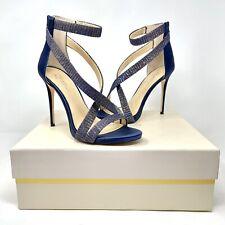 Vince Camuto Imagine Women Devin Leather Sole Blue Ankle Strap Heels Size 6.5