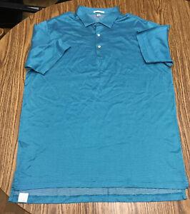 Peter Millar Golf Short Sleeve Polo Shirt Mens Size XL Teal White Excellent