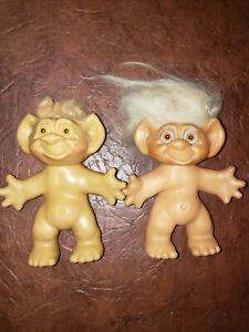 """Vintage Uneeda Wishnik Troll Doll couple  6"""""""