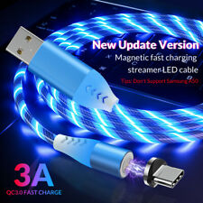TOPK 3A Fast Charging Led Flowing Magnetic Cable  for iPhone Micro USB Type C