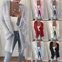 Women's Long Sleeve Oversized Knitted Sweater Jumper Cardigan Outwear Coat  Cx