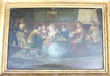 Ancien tableau sur bois gout David Téniers école Flamande taverne 17eme ou 18eme