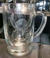 New Disney Parks Arribas STITCH Etched Glass Coffee Mug Cup! PERSONALIZED
