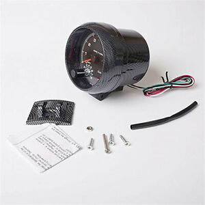 "3.75"" Carbon Fiber style LED Car Tachometer 0-8000 RPM For 4/6/8 Cylinder 12V"