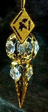 "Spectra Swarovski Crystal 24K Gold Plated 3.5"" ""Frozen"" Icicle Pendant Ornament"