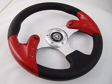 CARBON Steering Wheel with Adapter Ez-go POLARIS Ranger Club car Harley Kubota