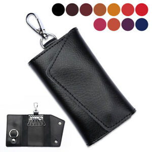 Genuine Leather Wallet Purse Bag Case Holder Key ring Pouch Bag Safe Hanger Gift