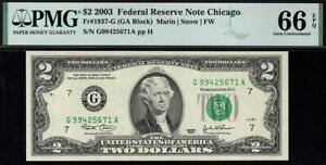 2003 $2 Chicago Federal Reserve Note FRN 1937-G • PMG 66 EPQ *Rare* non-star