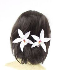 2 x Large White Orchid Flower Hair Pins Vtg Rockabilly Clip 1950s Accessory 2709