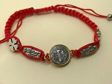 Gold and Silver plated St Benedict lucky charms Kabbalah Red Macrame Bracelet