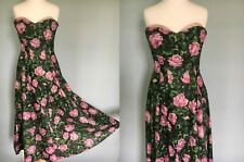 Vintage Original 1950's 50s strapless rose print dress circle skirt floral boned