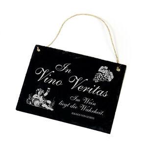 Schiefertafel Schild graviert - In Vino Veritas - Im Wein liegt Wahrheit 22x16cm