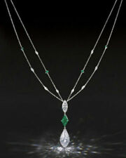 Cocktail Party Solid 925 Sterling Silver Pear Marquise Chain Necklace Jewelry Cz