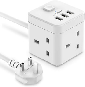 JSVER Cube Extension Lead with USB, 3 Way Power Strip with 3 USB Ports 5V/2.4A
