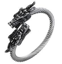 Edelstahl Armreif Armband Drache Odin, Viking Wikinger LARP wolf freki