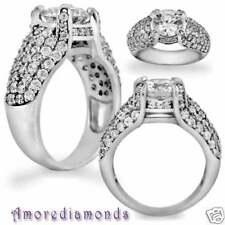 2 ct GIA D VS1 round diamond antique vintage pave set engagement ring white gold