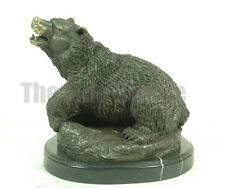 Signed: Milo, Roaring Bear Bronze Statue Sculpture