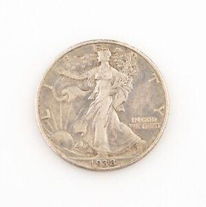 1938-D 50¢ Walking Liberty Half Dollar, XF Condition, Medium Gray Color, Detail!