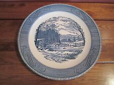 Vintage Currier And Ives Blue & White Plate 12 1/4""