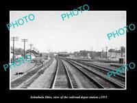 OLD LARGE HISTORIC PHOTO OF ASHTABULA OHIO, THE RAILROAD DEPOT STATION c1955