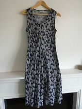 Ladies Lovely TU Black Mix Circle Knee Length Sleeveless Tie Dress Size 14, Vgc