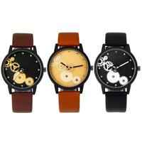 Geometrische Uhren der Retro- Frauen Kompass-analoge lederne Quarzarmbanduh A6F0